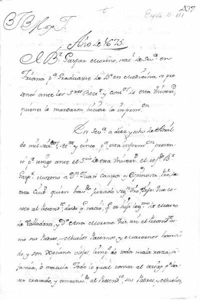 Expediente de Pruebas de Legitimidad y Limpieza de Sangre de Gaspar Moreno, para la obtención del Grado de Bachiller en Medicina.
