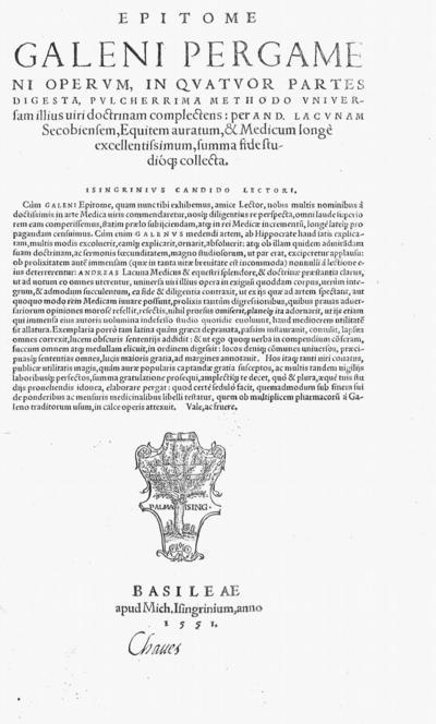 Epitome Galeni ... operum, in quatuor partes digesta ...