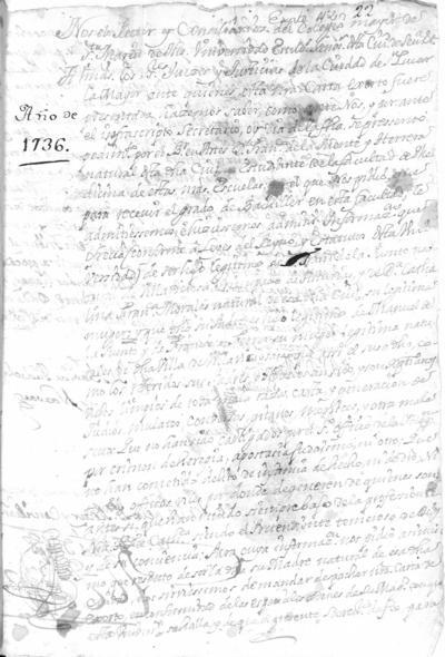 Expediente de Pruebas de Legitimidad y Limpieza de Sangre de Francisco de la Puente Herrera, para la obtención del Grado de Bachiller en Medicina.
