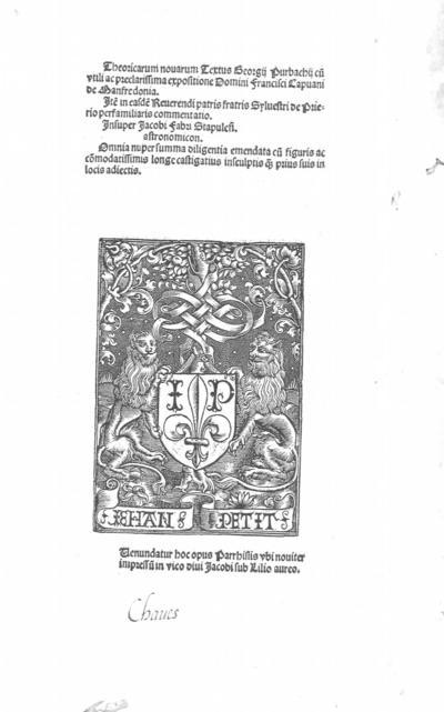 Theoricarum nouarum textus Georgij Purbachij
