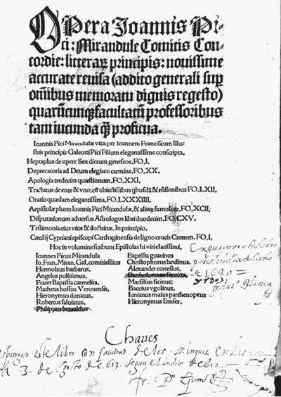 Opera Joannis Pici Mirandule Comitis concordie