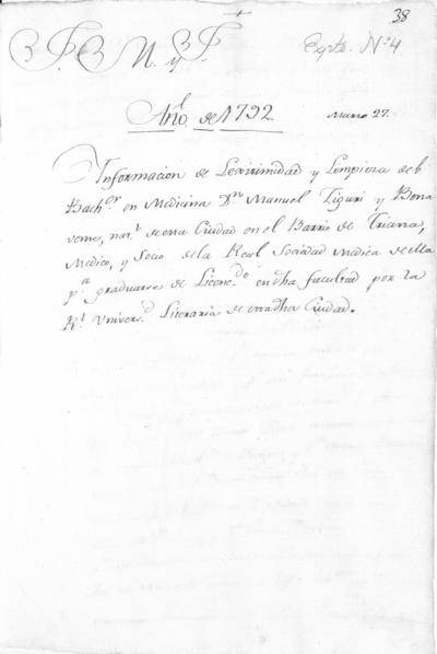 Expediente de Pruebas de Legitimidad y Limpieza de Sangre de Manuel Ziguri Benavente, para la obtención de los Grados de Licenciado y Doctor en Medicina.