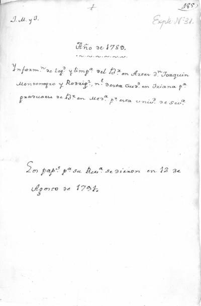 Expediente de Pruebas de Legitimidad y Limpieza de Sangre de Joaquín Montenegro Rodríguez, para la obtención del Grado de Bachiller en Medicina