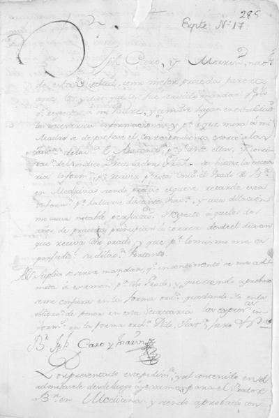 Expediente de Pruebas de Legitimidad y Limpieza de Sangre de Josef Caro Marín, para la obtención del Grado de Bachiller en Medicina.