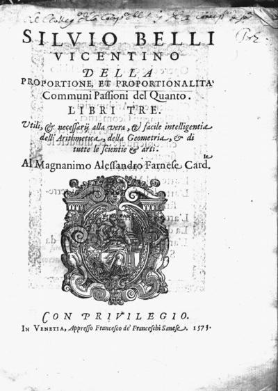 Siluio Belli Vicentino, Della proportione et proportionalita communi passioni del quanto