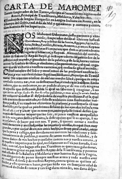 Carta de Mahomet, Tercer Emperador de los Turcos, escripta al Serenissimo Sigismundo Batori, Pr[i]ncipe de Transilvania...
