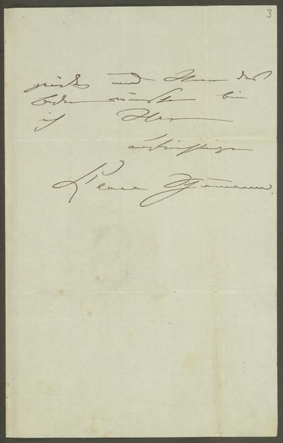 Brief von Clara Schumann an Theodor Müller-Reuter. Blatt 3. Autograph; Papier, Tinte. Bezeichnet Berlin, 22.12.1879. Dresden: SLUB Mscr.Dresd.App.2551,134