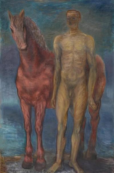 Férfiakt lóval