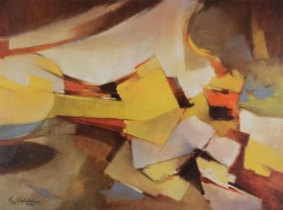 Őszi hangulat:sárga, barna, narancs színekkelmegfestett kompozíció