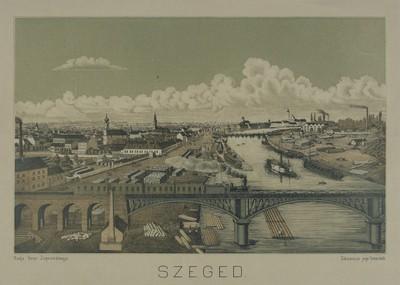 Szeged látképe dél felől a vasúti híddal