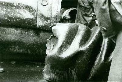 A Sztálin szobor maradványa a Blaha Lujza téren.