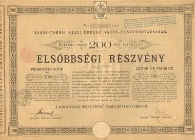 A Kassa-Tornai Helyi Érdekű Vasút Rt. elsőbbségi részvénye 200 osztrák értékű forintról