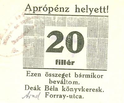 Az aradi Deák Béla könyvkereskedésének pénzjegye 20 fillérről