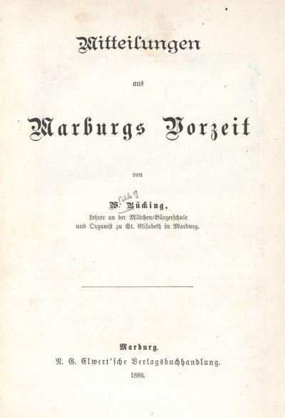 Mitteilungen aus Marburgs Vorzeit