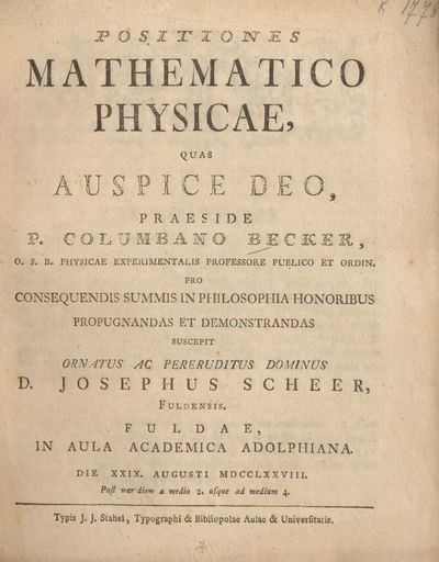 Positiones mathematico physicae