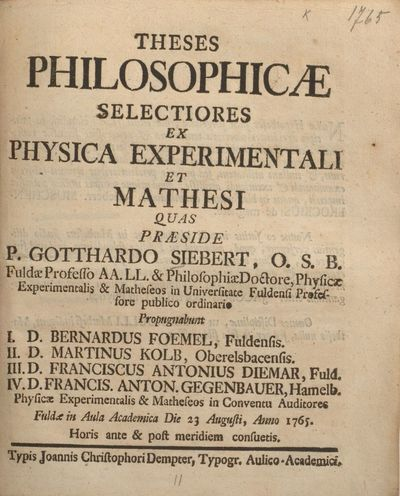 Theses philosophicae selectiores ex physica experimentali et mathesi