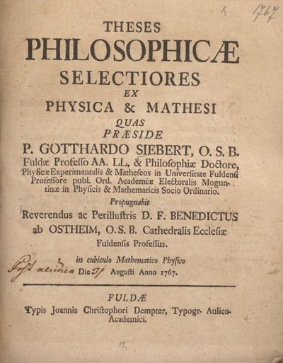Theses philosophicae selectiores ex physica & mathesi
