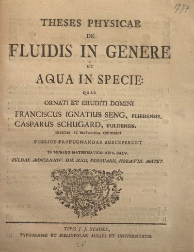 Theses physicae de fluidis in genere et aqua in specie
