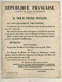 République Française. Au nom du peuple français, Le Gouvernement provisoire, Considérant que la revue décrétée pour jeudi prochain est une fête nationale ; [...] [une] fête de concorde et de sincère fraternité entre le Peuple de Paris et l'Armée [...] Décrète : [...] la journée du 20 avril prochain sera un jour férié [etc.]