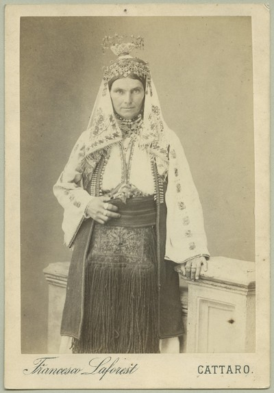 Studio portrait of a woman wearing traditional Christian clothes