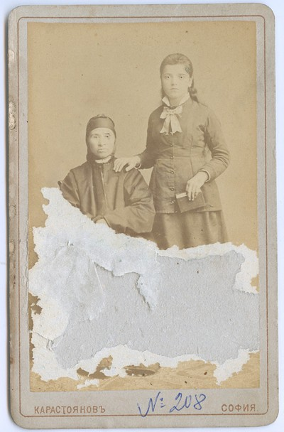 Studio portrait of a woman and a girl