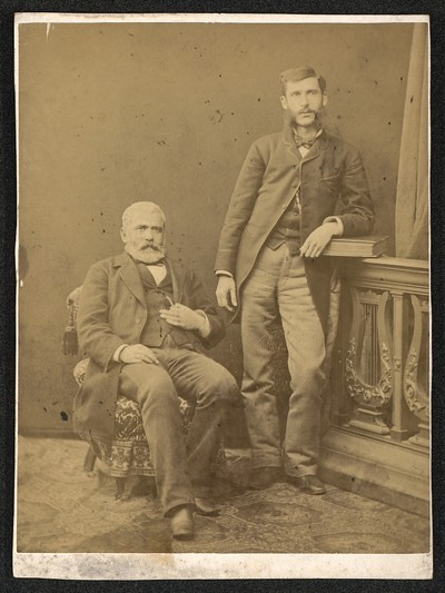 Studio portrait of Dragan Tsankov and Aleksander Lyudskanov