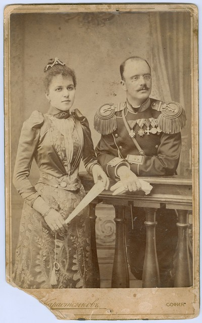 Studio portrait of major Marko Stefanov Dyulgerov and his wife
