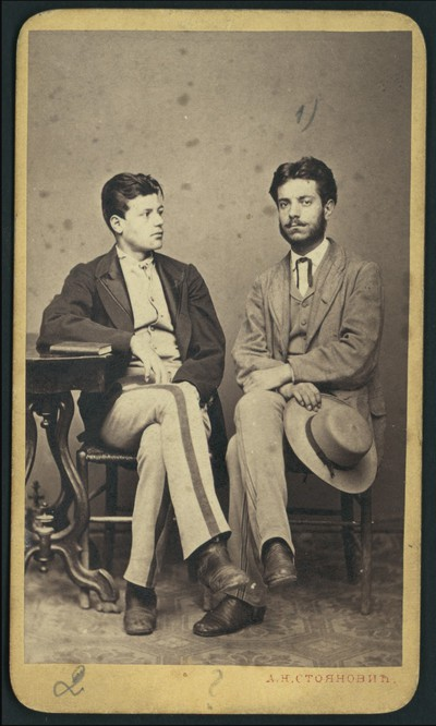 Studio portrait of two young men