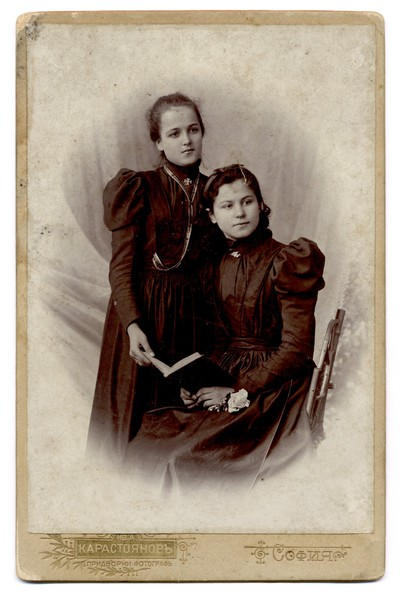 Studio portrait of Natalia Veleva with a girlfriend