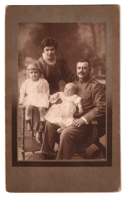 Studio portrait of the Popov family