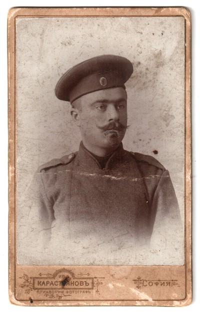Studio portrait of Popov as a soldier