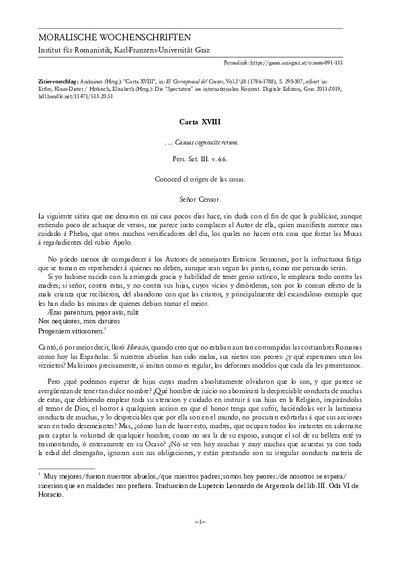 Carta XVIII