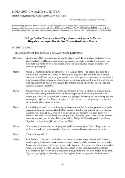Diálogo Céltico Transpirenaico é Hiperboreo entre el Corresponsal del Censor, y su Maestro de Latinidad.