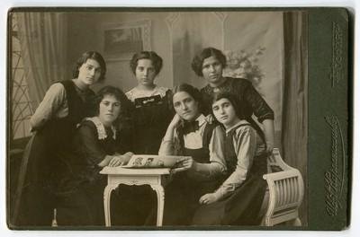 Studio portrait of six young women