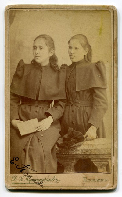 Studio portrait of two young women