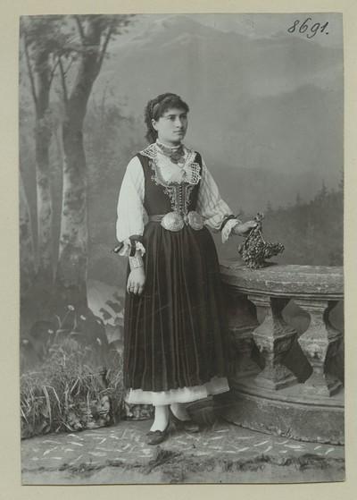 Studio portrait of a woman in folk attire