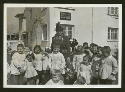 Princess Eudoxia of Bulgaria with children from the kindergarden named after her