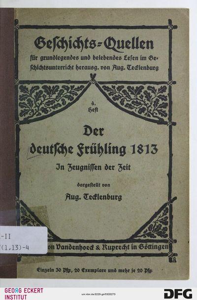 Der deutsche Frühling 1813 : in Zeugnissen der Zeit, H. 4