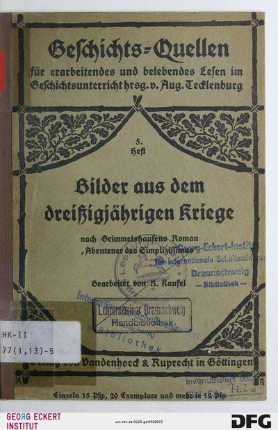 Bilder aus dem Dreißigjährigen Kriege : nach Grimmelshausens Roman Abenteuer des Simplizissimus, H. 5