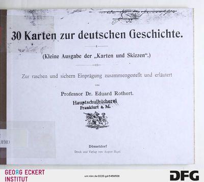 30 Karten zur deutschen Geschichte : (kleine Ausgabe der Karten und Skizzen)