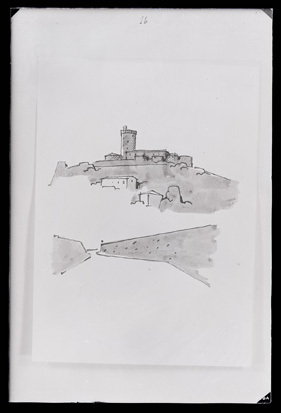 Branik - Grad Rihemberk (prostoročne skice), fotografija