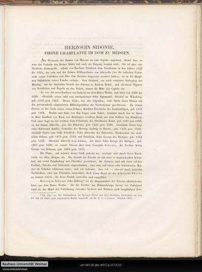Herzog Sidonie, ehrne Grabplatte im Dom zu Meissen.