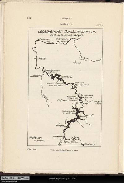 Anlage 4. Lageplan der Saaletalsperren nach dem Stande 1924/25