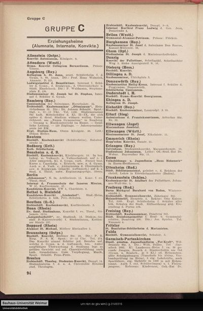 Erziehungsheime (Alumnate, Internate, Konvikte.)