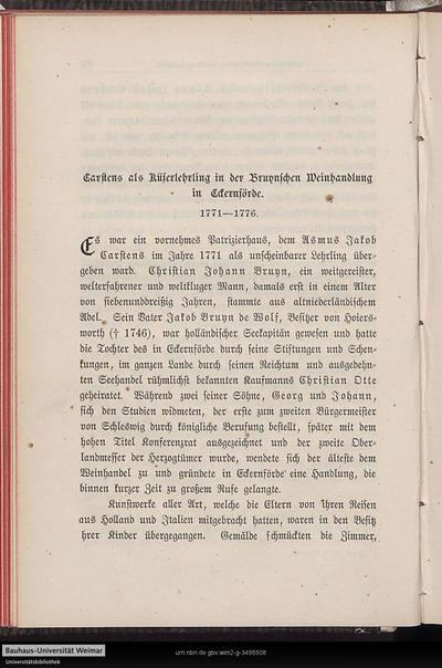 Carstens als Küserlehrling in der Bruynschen Weinhandlung in Eckerförde. 1771 - 1776.