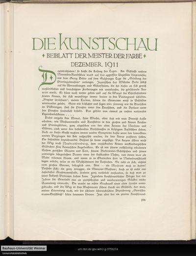 Die Kunstschau - Beiblatt der Meister der Farbe - Dezember 1911