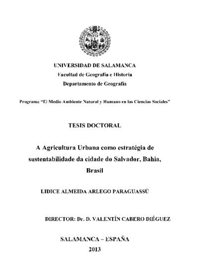 A agricultura urbana como estratégia de sustentabilidade da cidade do salvador, Bahia, Brasil