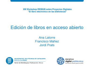 Edición de libros en acceso abierto en la Universitat Politècnica de Catalunya