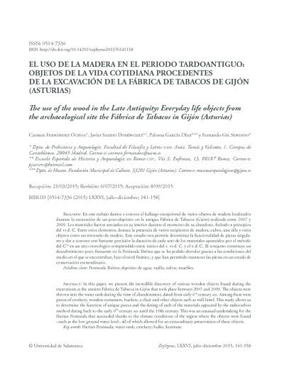 El uso de la madera en el periodo tardoantiguo: objetos de la vida cotidiana procedentes de la excavación de la Fábrica de Tabacos de Gijón (Asturias)