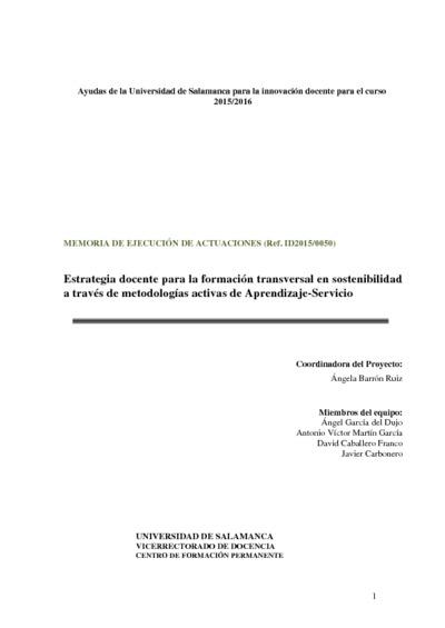 Estrategia docente para la formación transversal en sostenibilidad a través de metodologías activas de Aprendizaje-Servicio